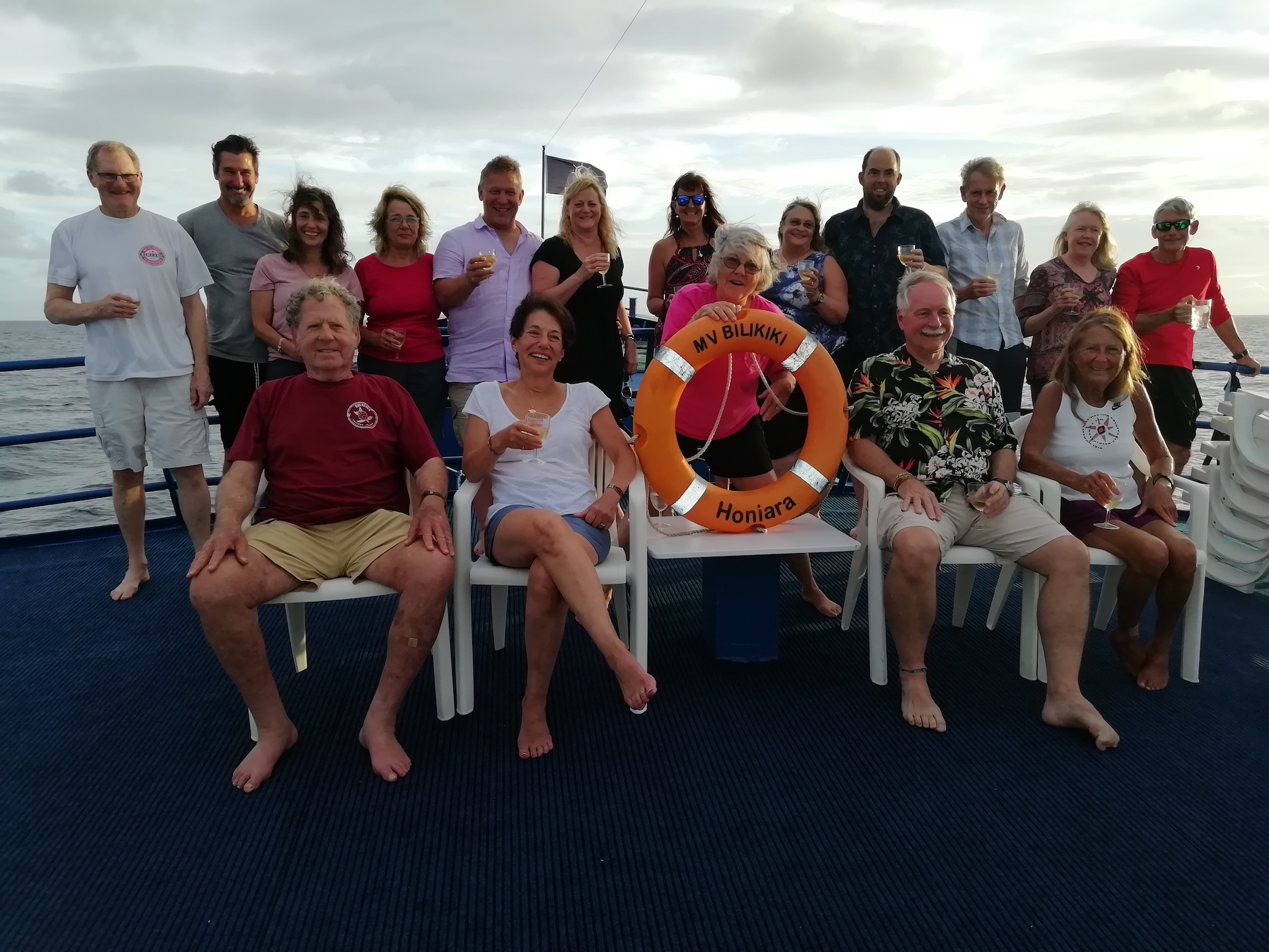 A group shot of all the scuba divers onboard the liveaboard Bilikiki