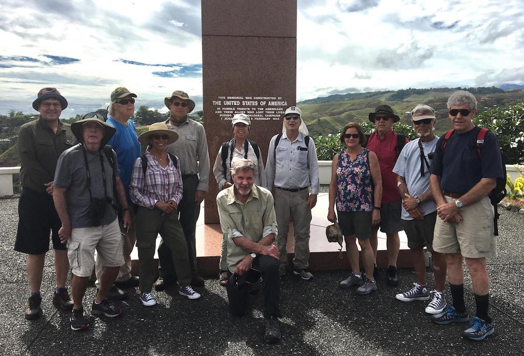 The WW2 historians at the USA war memorial in Honiara, Solomon Islands.